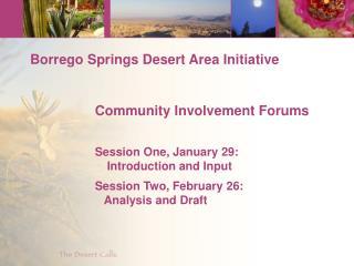 Borrego Springs Desert Area Initiative