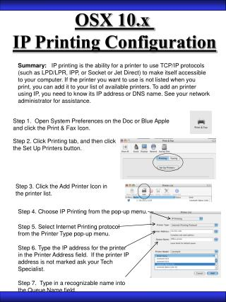 Summary: IP printing is the ability for a printer to use TCP ...