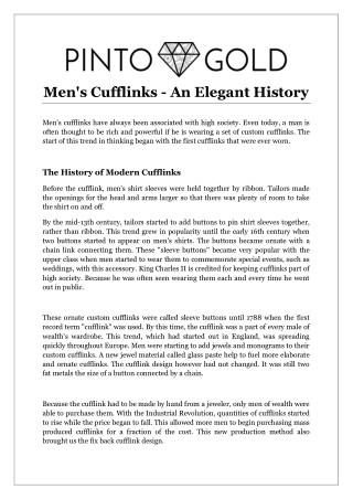 Men's Cufflinks - An Elegant History