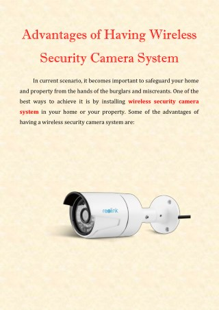 Advantages of Having Wireless Security Camera System