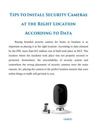 Tips To Install Security Cameras at the Right Location According To Data