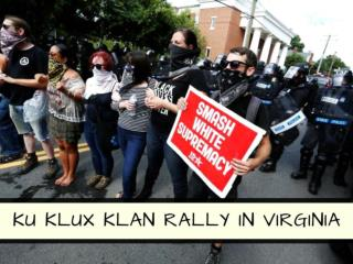 KKK rally in Charlottesville outnumbered by counterprotesters