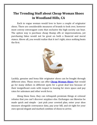 The Trending Stuff about Cheap Woman Shoes in Woodland Hills, CA