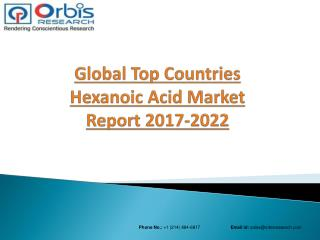 Global Hexanoic Acid  Market: Trends & Opportunities (2017-2022) - New Report by Orbis Research
