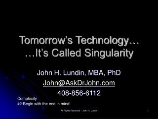 Tomorrow s Technology   It s Called Singularity