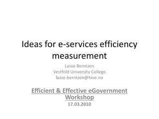 Ideas for e-services efficiency measurement