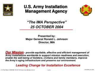 The IMA Perspective  25 OCTOBER 2004   Presented by: Major General Ronald L. Johnson Director, IMA