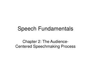 Speech Fundamentals