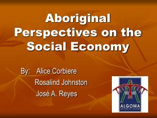 Aboriginal Perspectives on the Social Economy
