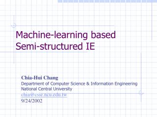 Machine-learning based Semi-structured IE