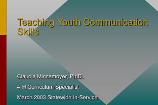 Teaching Youth Communication Skills