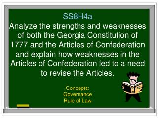 SS8H4a Analyze the strengths and weaknesses of both the Georgia Constitution of 1777 and the Articles of Confederation a