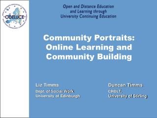 Community Portraits: Online Learning and Community Building