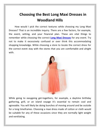 Choosing the Best Long Maxi Dresses in Woodland Hills