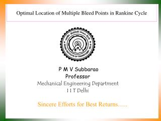 Optimal Location of Multiple Bleed Points in Rankine Cycle