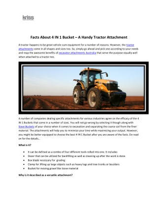 Facts About 4 IN 1 Bucket – A Handy Tractor Attachment.