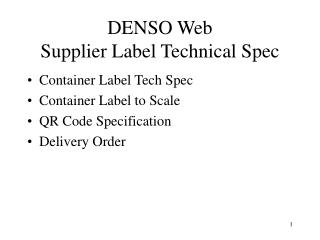 DENSO Web Supplier Label Technical Spec