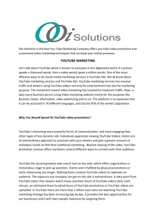 YouTube for Business   Video Advertising   OOI Solutions