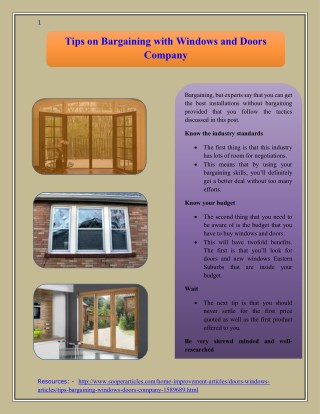 Tips on Bargaining with Windows and Doors Company