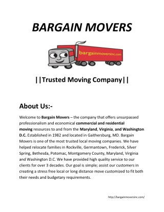 Bargain Movers-Trusted Moving Company