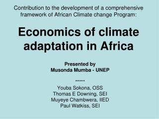 Contribution to the development of a comprehensive  framework of African Climate change Program:  Economics of climate a