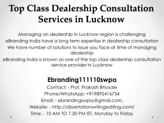 Top Class Dealership Consultation Services in Lucknow