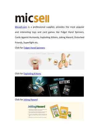 Micsell Popular Cards Game & Toys Wholesale Store
