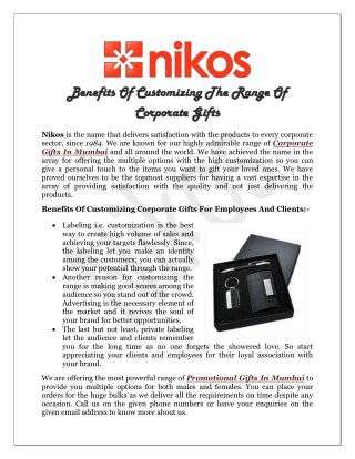 Benefits Of Customizing The Range Of Corporate Gifts