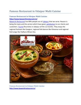 Famous Restaurant in Udaipur Multi Cuisine