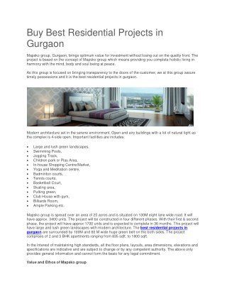 Buy Best Residential Projects in Gurgaon