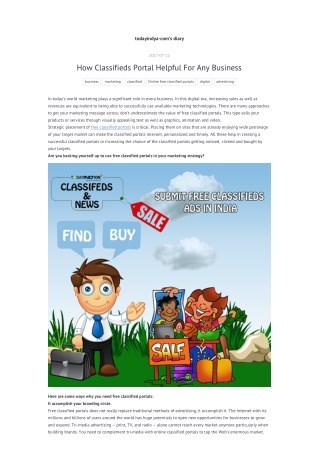 How Classifieds Portal Helpful For Any Business