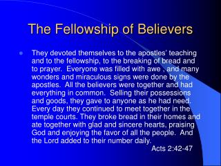 The Fellowship of Believers