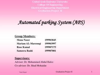 United Arab Emirates University College Of Engineering Electrical Engineering Department Graduation Project  II