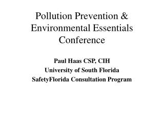 Pollution Prevention  Environmental Essentials Conference