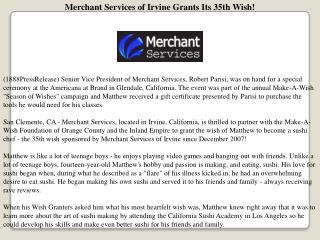 Merchant Services of Irvine Grants Its 35th Wish!