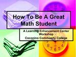 How To Be A Great Math Student