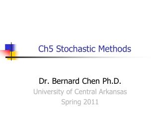Ch5 Stochastic Methods