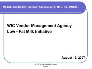 Medical and Health Research Association of NYC, Inc. MHRA
