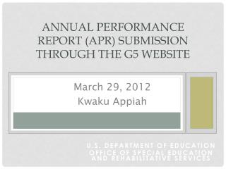 Annual Performance Report APR Submission through the G5 Website