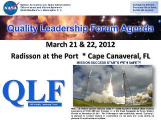 March 21  22, 2012 Radisson at the Port   Cape Canaveral, FL