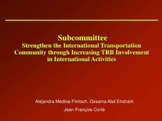 Subcommittee  Strengthen the International Transportation Community through Increasing TRB Involvement in International