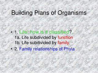 Building Plans of Organisms