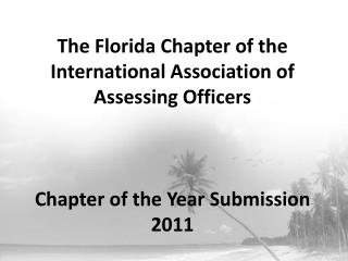 The Florida Chapter of the International Association of Assessing Officers    Chapter of the Year Submission 2011