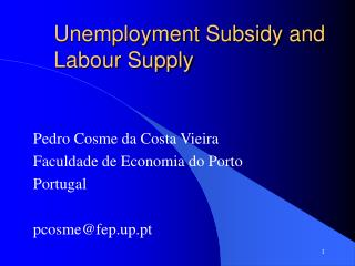 Unemployment Subsidy and Labour Supply