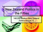 New Zealand Politics in the Fifties