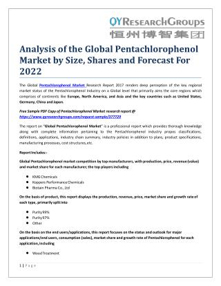 Analysis of the Global Pentachlorophenol Market by Size, Shares and Forecast For 2022