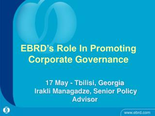 EBRD s Role In Promoting Corporate Governance