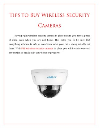 Tips To Buy Wireless Security Cameras