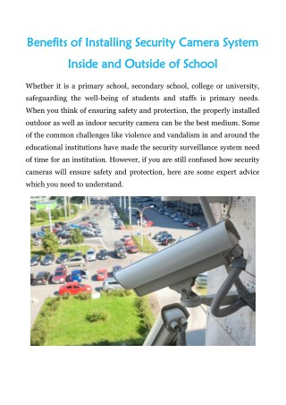 Benefits of Installing Security Camera System Inside and Outside of School