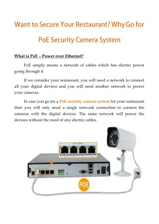 Want To Secure Your Restaurant? Why Go For PoE Security Camera System